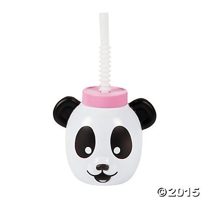 Panda Party Molded Cups with Lids & Straws
