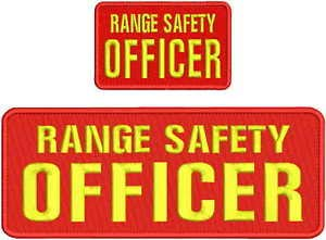 Range Safety Officer EMB Patch 4X11 and 2.75 X 4.5 Hook ON Back RED/Yellow by HighQ Store