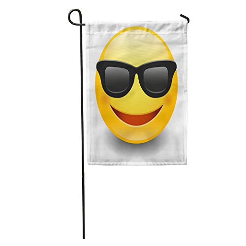 Semtomn Garden Flag Orange Emoticon Emoji Sunglasses Smiley Face Yellow Happy Smart Avatar Home Yard House Decor Barnner Outdoor Stand 12x18 Inches ()