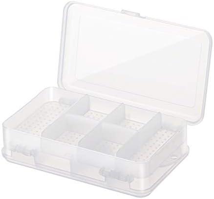Gshy - Caja de almacenamiento para joyas de plástico, 10 rejillas separadoras con compartimentos ajustables, organizador de joyas, contenedores de almacenamiento para pendientes
