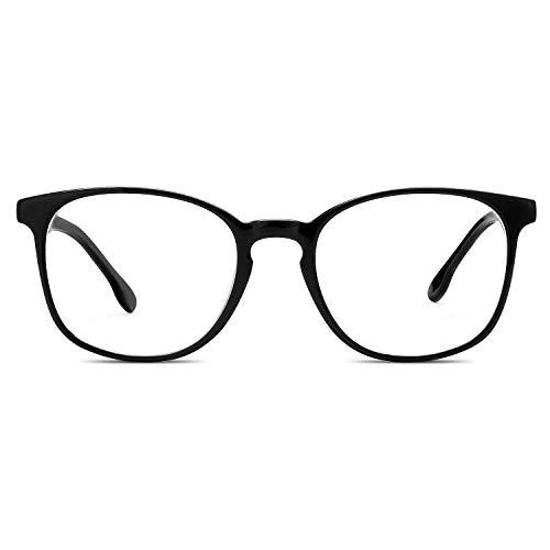 LUOMON Fashion Stylish Eyeglasses for women Black Acetate Frame Glasses Clear Lens Eyewear