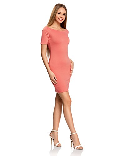 oodji Ultra Mujer Vestido de Punto con Escote Barco Rosa (4D00N)