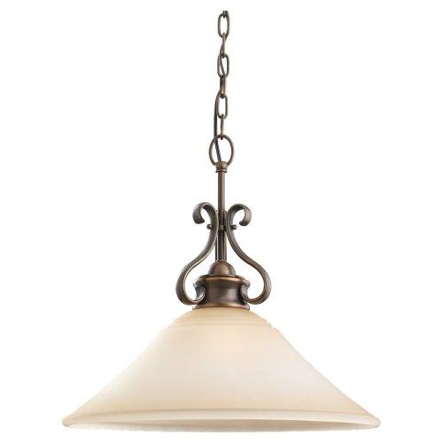 - Sea Gull Lighting 65380-829 Single-Light Pendant, Ginger Glass Shade and Russet Bronze