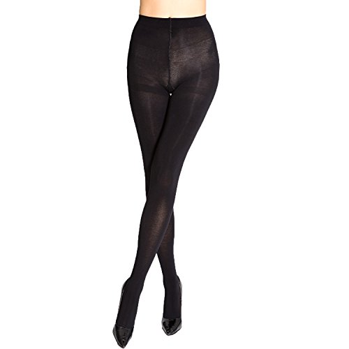 MANZI Women's Super Opaque Control-Top Tight 150D Size L (Top Control Cotton Tights)