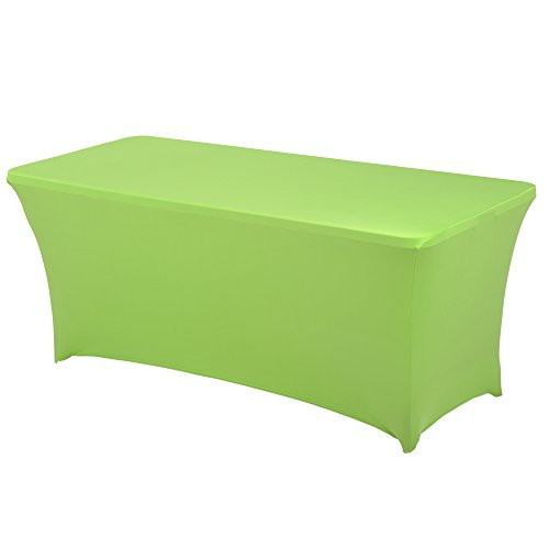 HAORUI Rectangular Spandex Table Cover (6 ft. Apple Green)