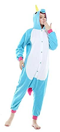 USTOP Unicorn Adult Animal Kigurumi Cosplay Costume Pajamas Onesies (S(148cm-160cm), Blue Unicorn Pegasus)
