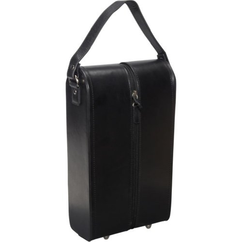 AmeriLeather Leather Double Wine Case Holder (Black) ()