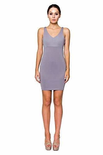 VIRGIN ONLY Women's Slim Fit Bodycon Mini Dress (Gray, Size S)