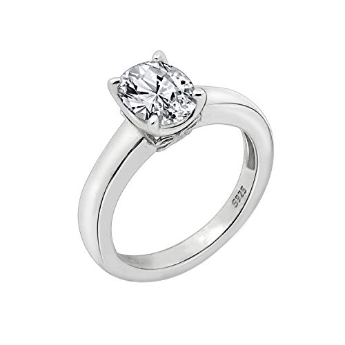 (J'ADMIRE 1.5 ct Swarovski Zirconia Oval-Shape Solitaire Ring Size 6, Platinum-Plated Sterling Silver)
