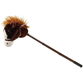 """Linzy Plush Adjustable Horse Stick with Sound, Dark Brown, 36"""""""