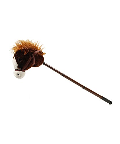 Linzy Hobby Horse, Stick Horse Dark Brown with Galloping Sounds and a Telescopic Stick 40 Inch