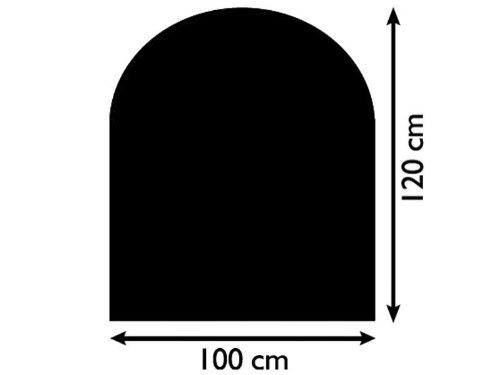 Funkenschutzplatte Glas 8mm Lienbacher halbrund schwarz 1000x1200mm