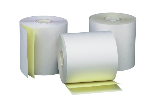 PM Company Perfection Two Ply Carbonless Rolls, 3 X 95 Feet, White/Canary, 50 Rolls Per Carton (07901) Two Receipt