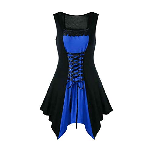 Womens Gothic Steampunk Dress Victorian Retro Lace up Short Mini Formal Dresses Plus Size]()