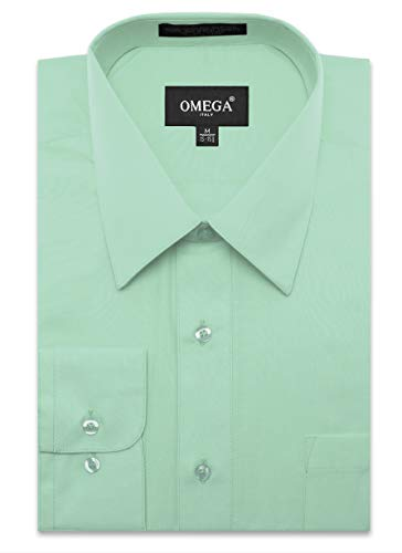lar Fit Dress Shirt w/Reversible Cuff L 16-16.5N-36/37S Aqua Shirts ()