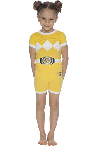 (Power Ranger Girls' Toddler Yellow Costume Pajama Short Set,)