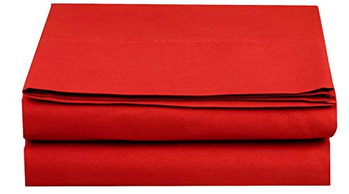 - Elegant Comfort  Premium Hotel 1-Piece, Luxury and Softest 1500 Thread Count Egyptian Quality Bedding Flat Sheet, Wrinkle-Free, Stain-Resistant 100% Hypoallergenic, Full, Red