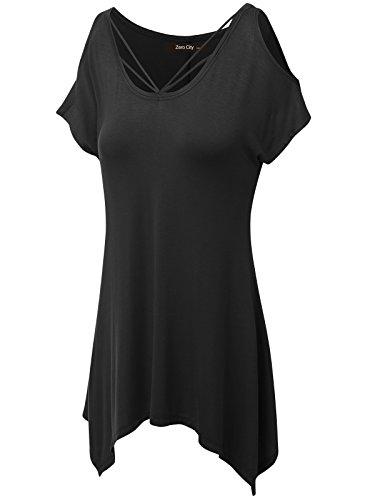 zero-city-womens-short-sleeve-cold-shoulder-casual-t-shirt-tunic-top-black-m