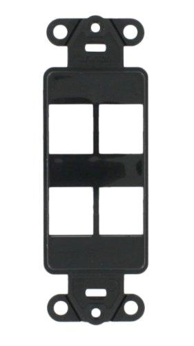 Leviton Decora Blank Insert - Leviton 41644-E QuickPort Decora Insert, 4-Port, Black