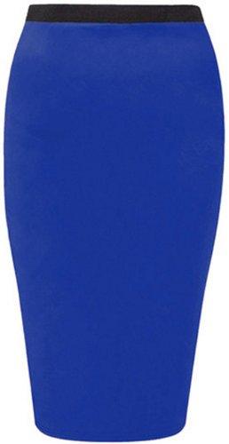 femmes taille maillot Blue la Royal plus crayon on midi jupes tron occasionnels moulante nouvelles qdA4TxwT