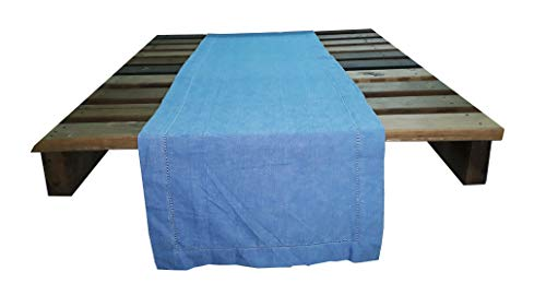 HomweLinen Table Runner, 100% Cotton Hemstitch Table Runner - 14x72 Inch, Country Blue Chambray