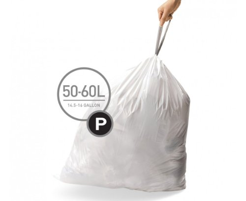 Price comparison product image simplehuman Code P Custom Fit Liners, Extra Large, Ultra Strong Trash Bags, 50-60 Liter / 13-16 Gallon, 3 Refill Packs (60 Count)