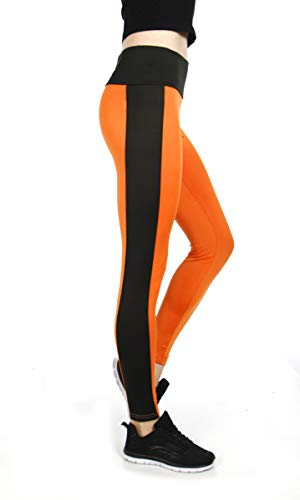 SERENITA College University Color Leggings High Waist Yoga Collegiate Sports Pants, Princeton University, Orange/Black]()