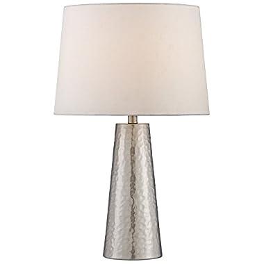 Silver Leaf Hammered Metal Cylinder Table Lamp