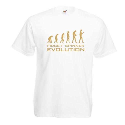 Maglietta da uomo L'evoluzione - Fidget Spinner (XX-Large Bianco Oro)