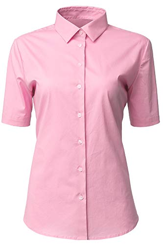 HORSE SECRET Womens Dress Shirts and Blouses for Work Pink Button Down Shirts Size 6