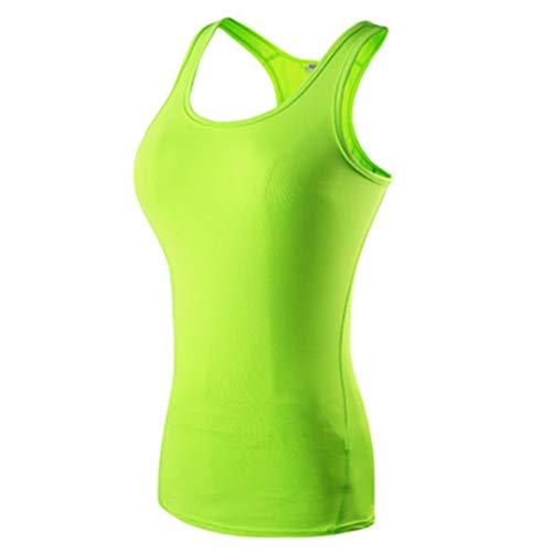 Plus YiZhuan Sexy Yoga Tops Women Sport T Shirt Fitness Gym Training Sleevelesss Shirts Workout Summer Running Vest Green 1 L ()
