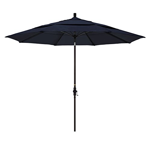 California Umbrella 11' Round Aluminum Pole Fiberglass Rib Market Umbrella, Crank Lift, Collar Tilt, Bronze Pole, Sunbrella Navy by California Umbrella