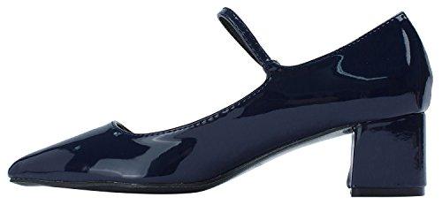 Sweet Holic Navy Mid Janes Womens Heel Toe Point Mary Shoes qvndRqAr