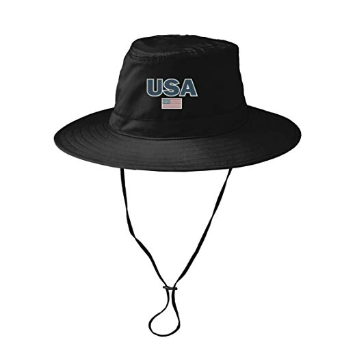 INK STITCH USA American Flag Summer UPF 30+ Bucket Hat with String - 3 Colors (Black, L/XL Size) ()