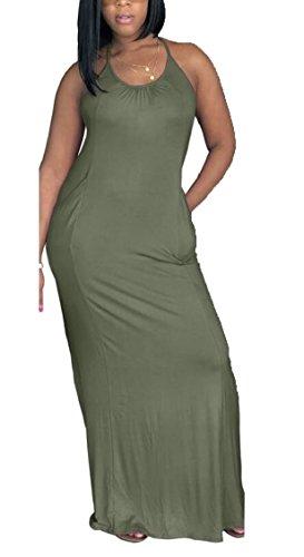 Sleeveless Color Long Halter Jaycargogo Womens Maxi Solid Dress Sexy 8 Neck w4PWEYq