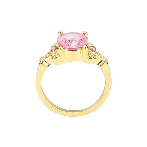 (HUAMING Fashion Jewelry Gold Filled Oval Sapphire Ring Silver Zircon Plated Engagement Band Wedding Ring for Women Good (Pink, 10))