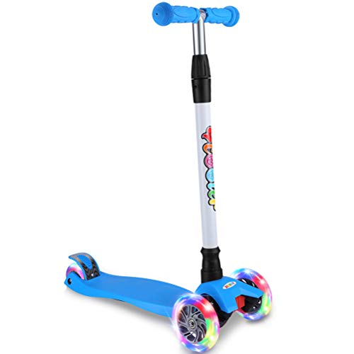 BELEEV Kick Scooter for Kids 3 Wheel Scooter, 4 Adjustable Height, Lean to Steer with PU LED Light Up Wheels for Children from 3 to 14 Years Old (Blue)