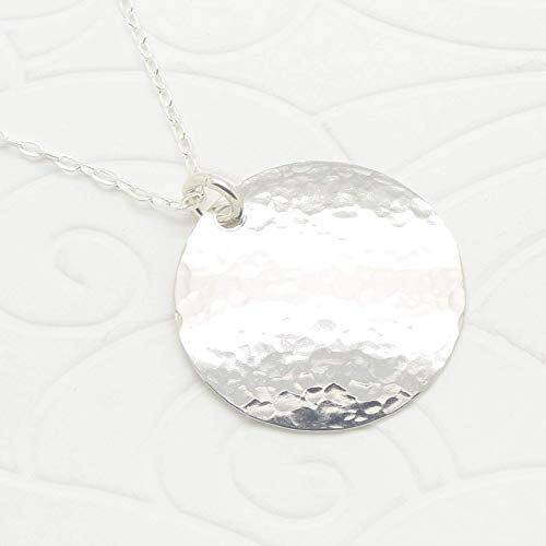 Medium Hammered Sterling Silver Disc Necklace in 24 Inch Length