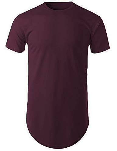 - Mens Hipster Hip Hop Basic Long T-Shirt with Zipper Trim (Medium, 1mx02_Wine)