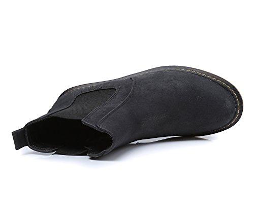 Smilun Gros Élastique Femme Bottes U Chaussures Chelseas Gousset Noir Talon rxgqIrp