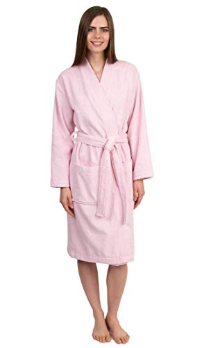 TowelSelections Women's Robe Turkish Cotton Terry Kimono Bathrobe X-Small/Small Ice Pink (Pure Cotton Terry Bathrobe)