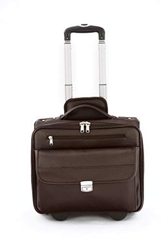 MBOSS Brown Faux Leather Overnight Laptop Trolley Travel Bag  ONT014