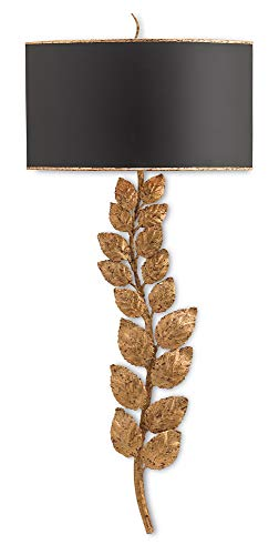 Currey and Company 5221 Birdwood - Two Light Wall Sconce, Textured Gold Leaf Finish with Satin Black/Gusso Gold Leaf Shade ()