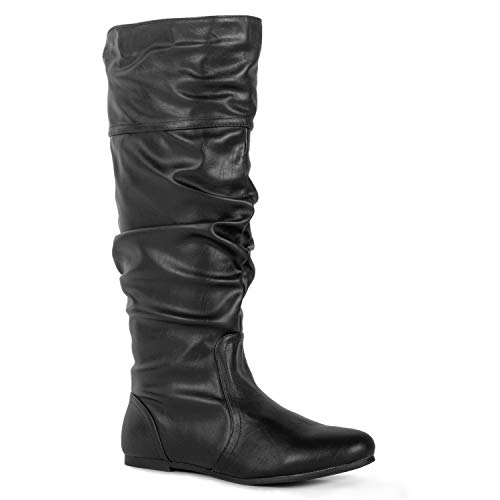 Slouch Womens Boots - RF ROOM OF FASHION Touched-11 Boots (Black PU Size 7)