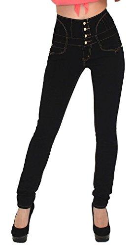 Damen MK195Hohe Taille Spitze hinten Slim Fit Schwarz Jeans Größe 8–16