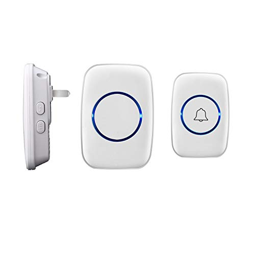 Wireless Doorbell, Waterproof Door Bell,Easy Install, Adjustable Volume and LED Flash,1 Push Button and 1 Receiver