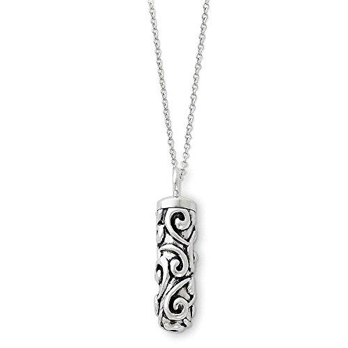 (PriceRock Sterling Silver Antiqued Cylinder Remembrance Ash Holder 18in Necklace 18 Inches Long)