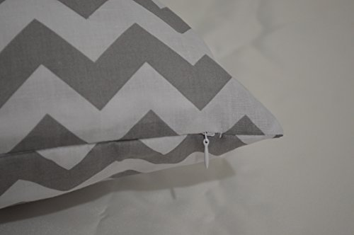 Creative Zig-Zag Chevron Cotton Reversible Pillow Cover, 26 By 26 inch - Grey