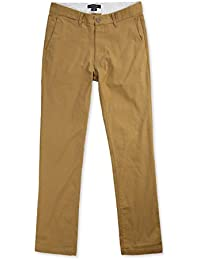 HETHCODE Men's Slim Fit Straight Leg Stretch Twill Flat Front Casual Chino Pants