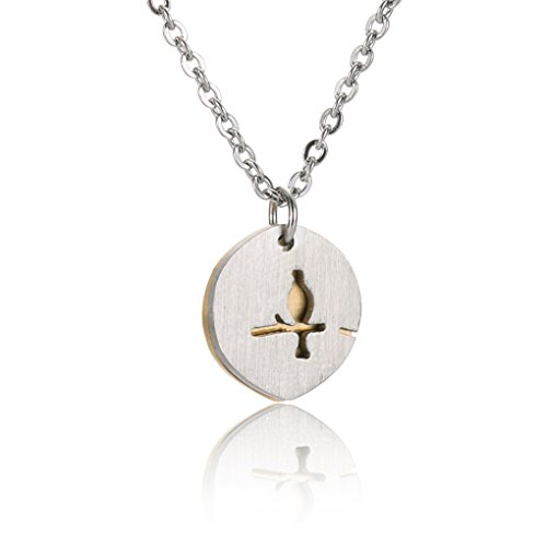 Curved Bird on Branch Charm - Disc Pendant